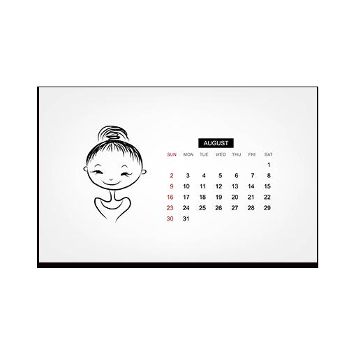 手绘人物八月日历横版明信片